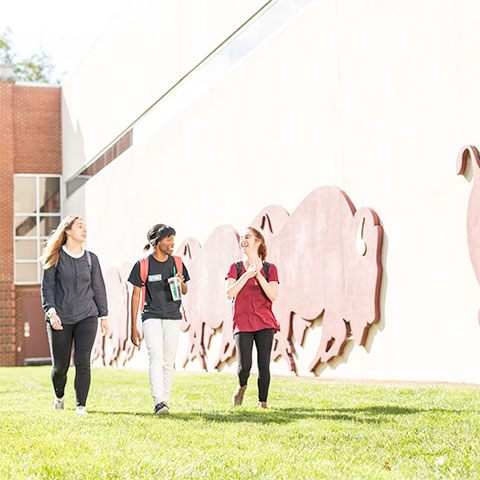 Students walk outside Student Activities Center near mural of running bison.