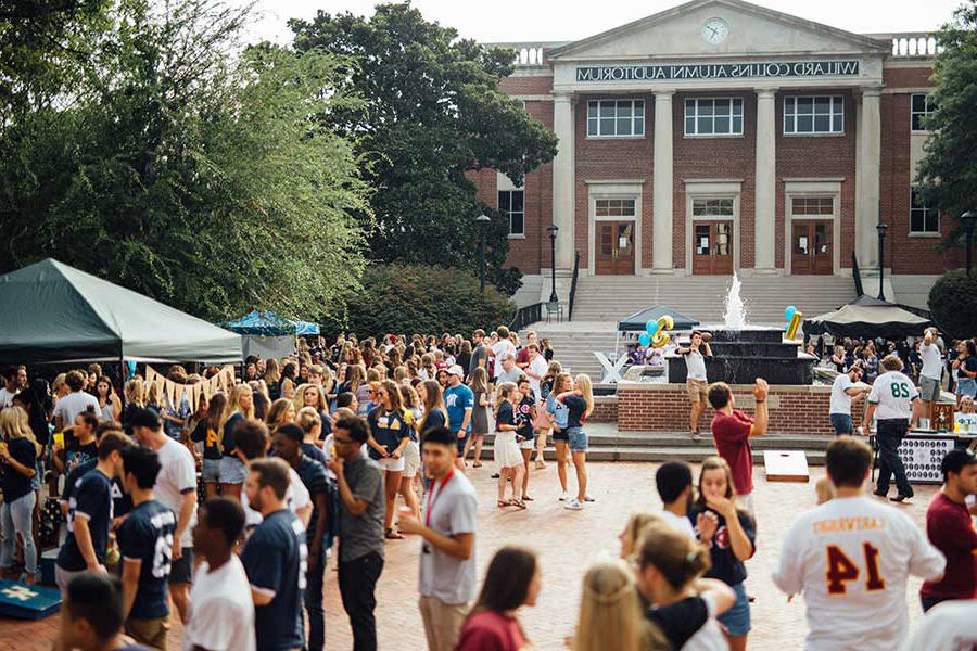 "Students are enjoying a ""Square Day"" in Bison Square here."