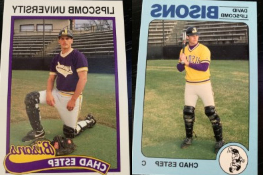 Two baseball cards with 乍得estep in baseball uniform.
